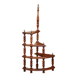 Mid-Century French Louis XIII Carved Walnut and Brass Spiral Library Step Ladder For Sale