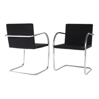 1970s Contemporary Mies Van Der Rohe for Knoll Brno Chairs - a Pair