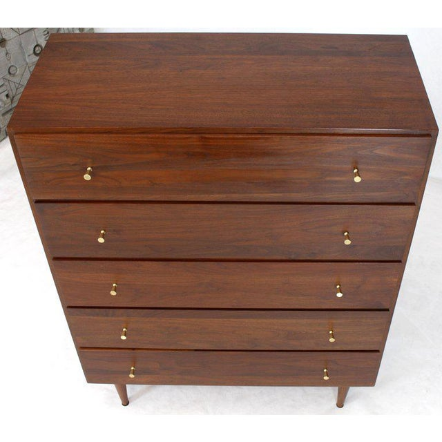 Solid Oiled Walnut Five-Drawer High Chest Dresser With Solid Brass Cone Pulls For Sale - Image 10 of 12