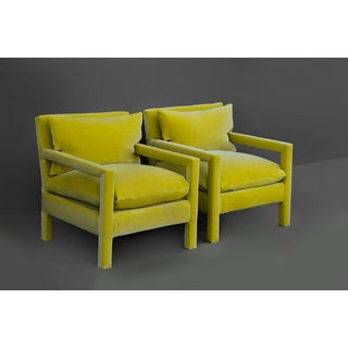 1970s Milo Baughman Parsons Chairs Reupholstered in Yellow Velvet - a Pair