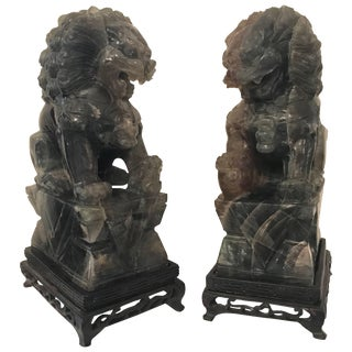 1920s Chinese Carved Green Quartz Foo Dogs - a Pair For Sale