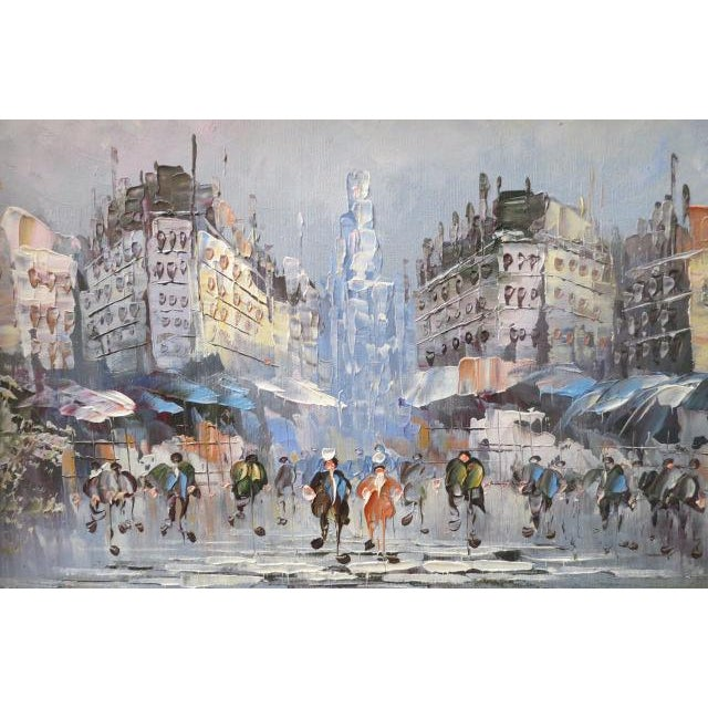 French street scene oil painting, c. 1990. Street scene with buildings, people, market stands. Blue, gray, cream, orange,...