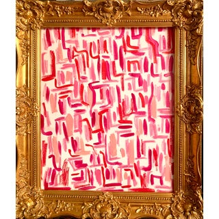 Contemporary Abstract Pink and Red Mixed-Media Painting by Ebony Boyd, Framed For Sale