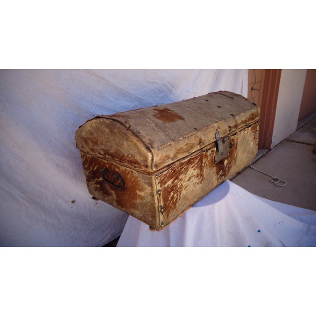 Early 1800's Hide Covered Trunk - Image 2 of 5