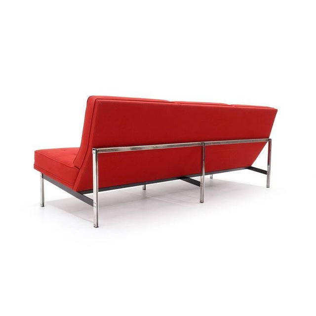 Mid-Century Modern Florence Knoll Parallel Bar Three-Seat Armless Sofa Red Wool Fabric For Sale - Image 3 of 8