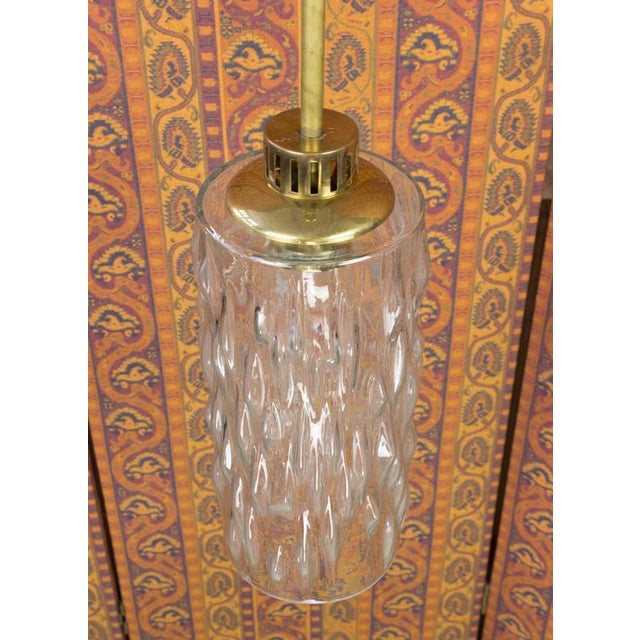 Mid-Century Modern French 1960s Glass and Brass Pendant For Sale - Image 3 of 9
