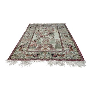 Persian 19th Century Lavar Kirman Antique Pictorial Rug For Sale