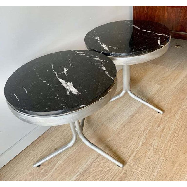 Aluminum and Marble Side Tables - a Pair For Sale In Los Angeles - Image 6 of 12