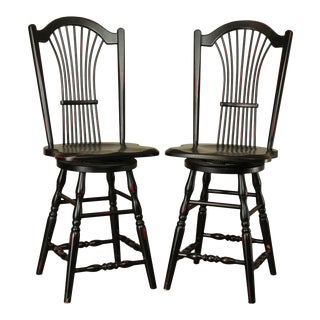 Country Home Black Painted Wheat Back Swivel Counter Stools For Sale