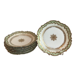 Antique Pistachio Green Limoges Porcelain French Plates - Set of 6 For Sale