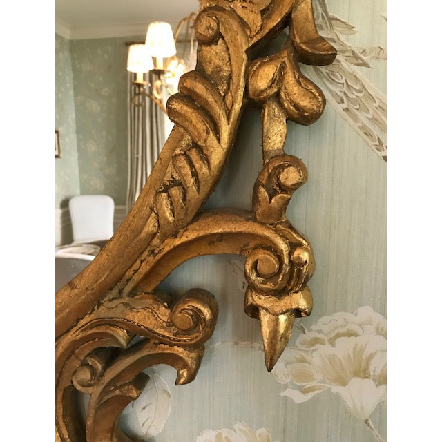 Rococo Ornate Carved Gilt-Wood Mirror For Sale In Charlotte - Image 6 of 9