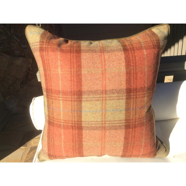 Stunning wool plaid from Zoffany is the base fabric used in fashioning this pillow. A fabulous 100% woolen with an ultra...