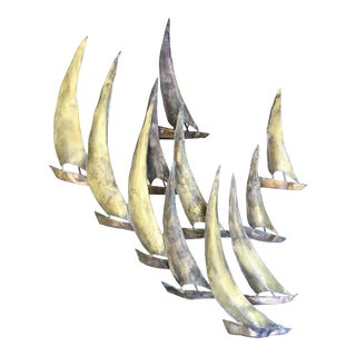 Brutalist Mid-Century Copper & Brass Sail Boat Fleet