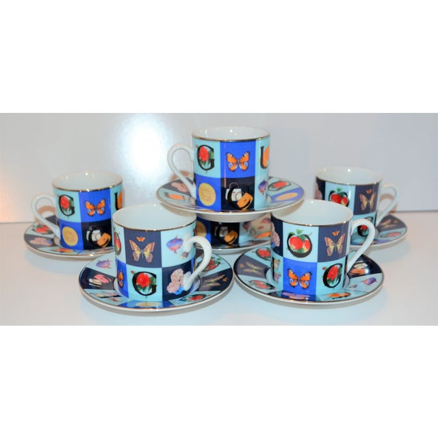 Hollywood Regency Vintage Mid Century Gucci Guccissimo Porcelain Espresso Cup Saucer Set- 12 Pieces For Sale - Image 3 of 13