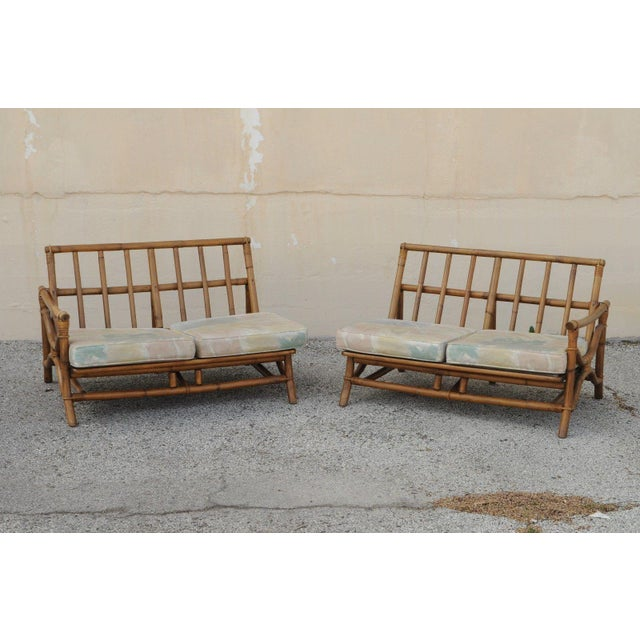 Vintage Mid Century Ficks Reed 5 Pc. Rattan Tiki Set Bamboo Sofa Table Pair Chairs For Sale - Image 5 of 11