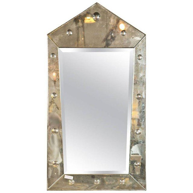 Silver Hollywood Regency Venetian Style Rare Pyramid Design Bevelled Mirror For Sale - Image 8 of 8