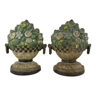 American Painted Cast Iron Doorstops, Floral Jardinieres - a Pair For Sale