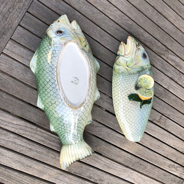 Green Vintage Mid Century Italian Hand Painted Majolica Fish Tureen For Sale - Image 8 of 10