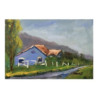 """The Blue House"" Landscape Oil Painting For Sale"