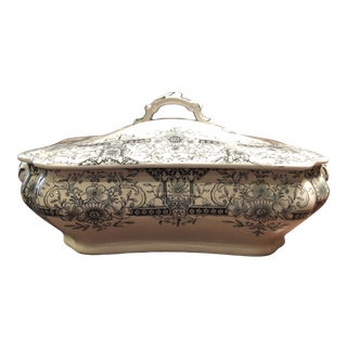 1920s English Shallow Covered Tureen For Sale