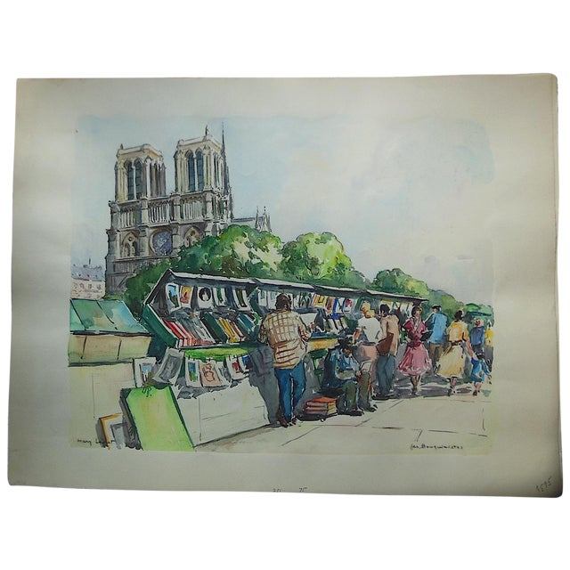 Large Original Mid Century Paris Watercolor - Image 1 of 4