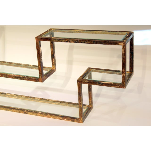 Brown 1960s Mid-Century Modern Display Shelf Glass Steel Case Tabletop Curio Gilt For Sale - Image 8 of 12