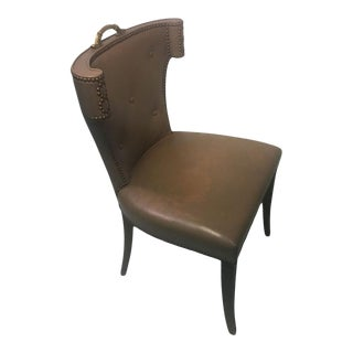 Decorator Studded Chair With Ornate Bronze Handle For Sale