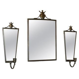 Swedish Pewter Mirror and Sconces by Svenskt Tenn For Sale
