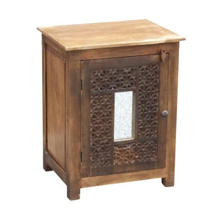 Moroccan Carved Nightstand Cabinet