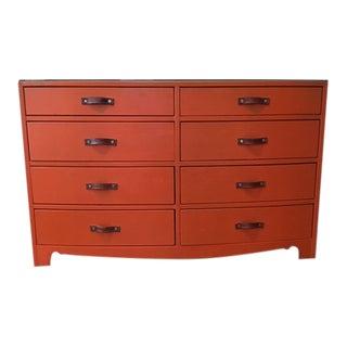 1970s Hollywood Regency Hermes Orange Leather Wrapped Dresser For Sale