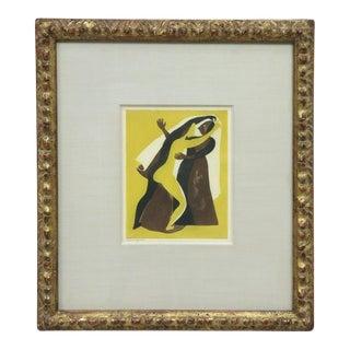 "Carlos Orozco Romero ""Two Figures Dancing"" Aquatint Framed For Sale"
