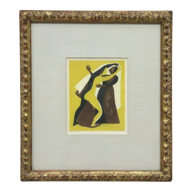 "Original Carlos Orozco Romero ""Two Figures Dancing"" Aquatint Framed For Sale"