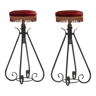 1950s French Adjustable Wrought Iron Tasseled Stools - a Pair