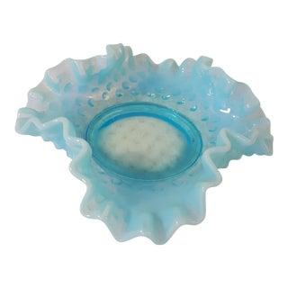 Fenton Aqua Opalescent Hobnail Bon Bon Dish