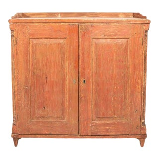 Antique English Country Buffet Cabinet With Original Red Paint For Sale