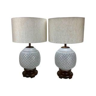 Blanc De Chine Porcelain Lamps - A Pair