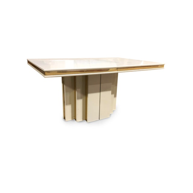 Metal 1970s Contemporary Roger Rougier Brass and Lacquered Dining Table For Sale - Image 7 of 8