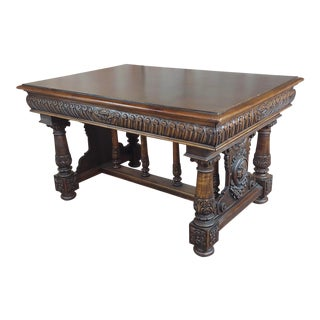 Beautiful Carved Walnut Figural Library Table - C1920's For Sale