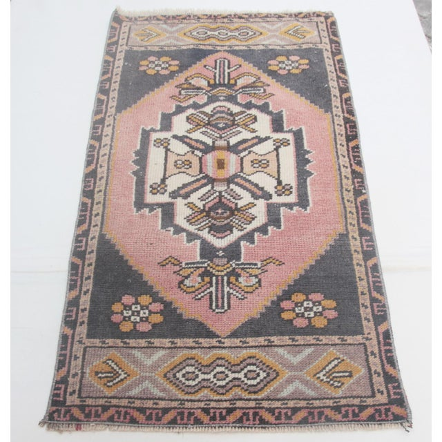 """1960s Turkish Pure Wool Carpet - 43"""" X 21"""" For Sale - Image 11 of 11"""