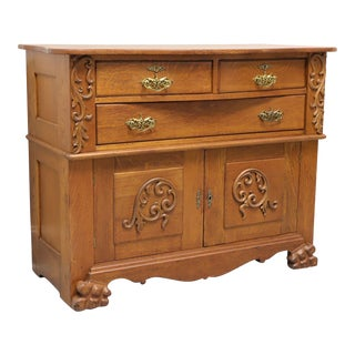 Circa 1900 Antique Quartersawn Tiger Oak Sideboard Buffet For Sale