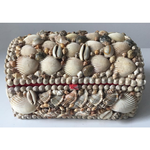 Vintage Large Shell Covered Jewelry Box - Image 2 of 7