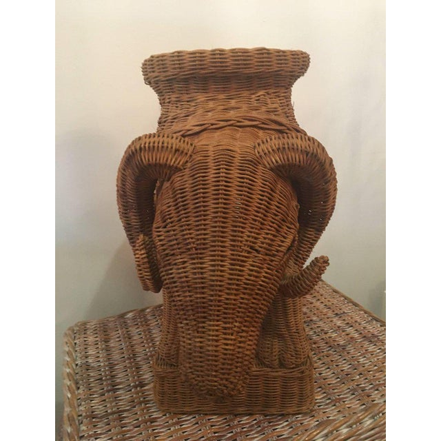 Vintage Wicker Ram Garden Stool Plant Stand For Sale - Image 4 of 10