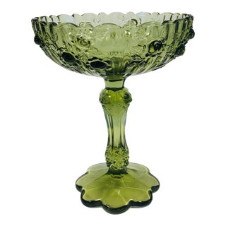 Fenton Colonial Rose Green Compote For Sale