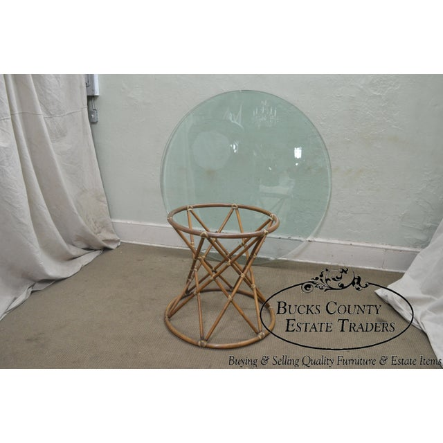 """Brown McGuire of San Francisco 60"""" Round Glass Top Rattan Bamboo Base Dining Table For Sale - Image 8 of 12"""