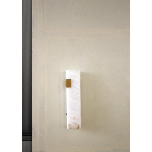 2010s Modern Contemporary 003-2c Sconce in Brushed Brass and Alabaster by Orphan Work For Sale - Image 5 of 10
