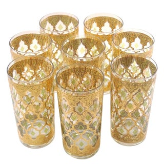 Vintage *Signed* Mint Culver Valencia Green Diamond & Gold Highball Tumbler Glasses - 8 For Sale