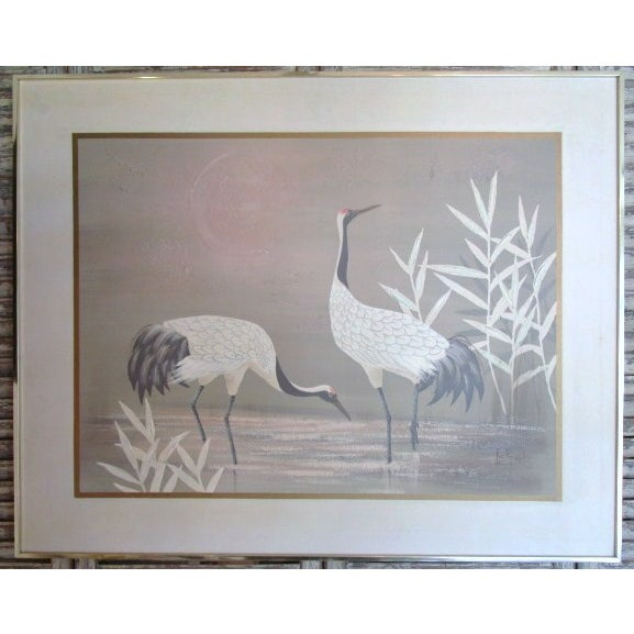 "Pastel ""2 Cranes"" Painting - Image 2 of 6"