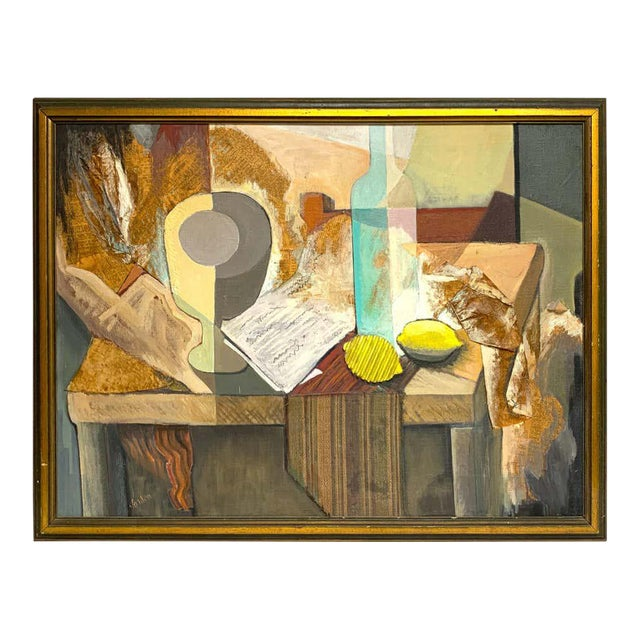 Mid-Century Mixed-Media Cubist Still Life Oil on Canvas For Sale