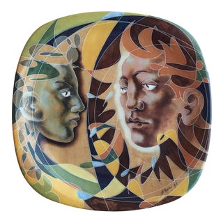 1990s Decorative Porcelain Plate With Human Figure Design by Hans Erni For Sale
