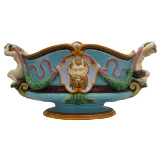 19th Century Renaissance Turquoise Majolica Jardiniere For Sale